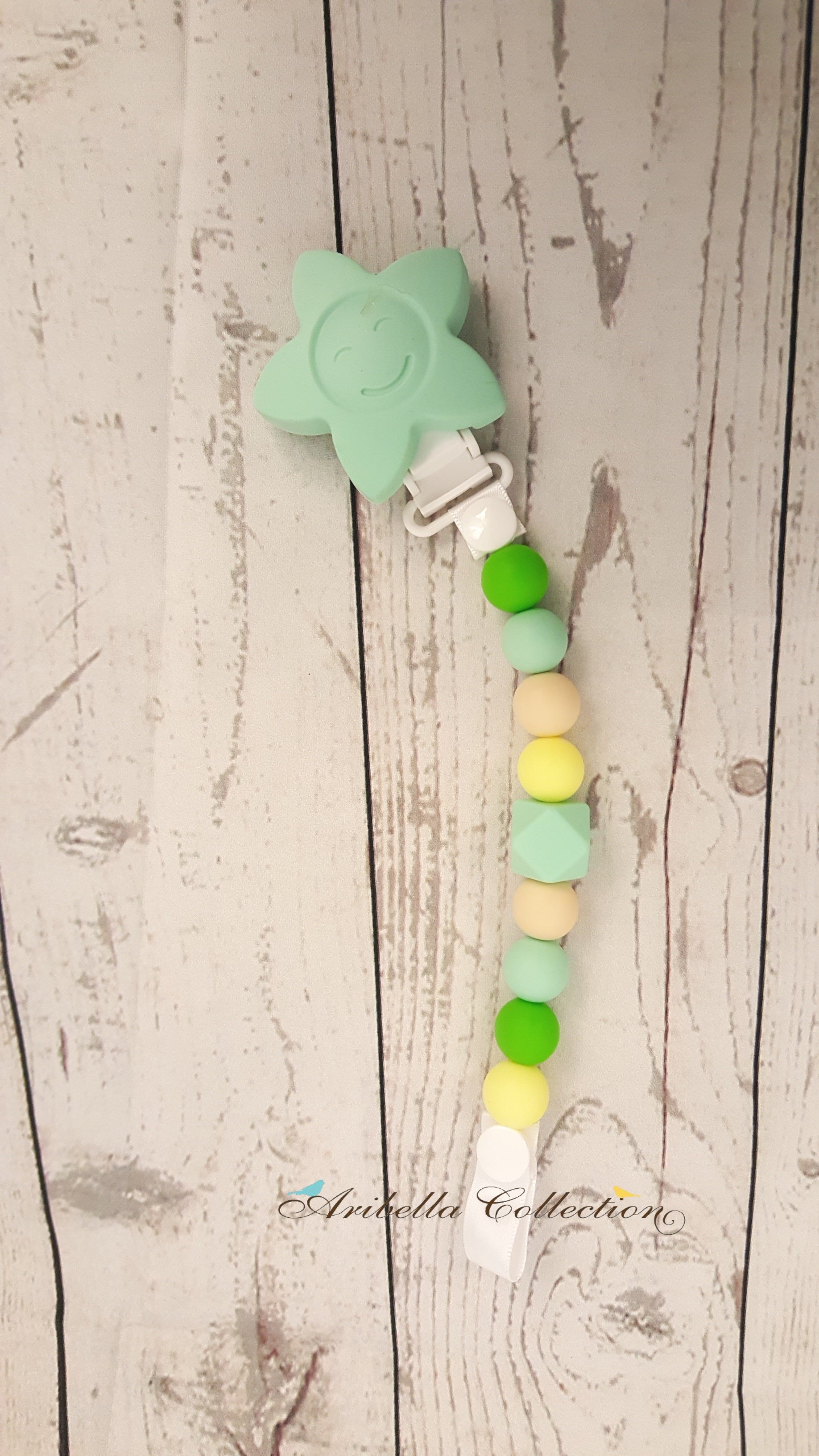 Silicone Pacifier Clip - Mint Star - Aribella Collection
