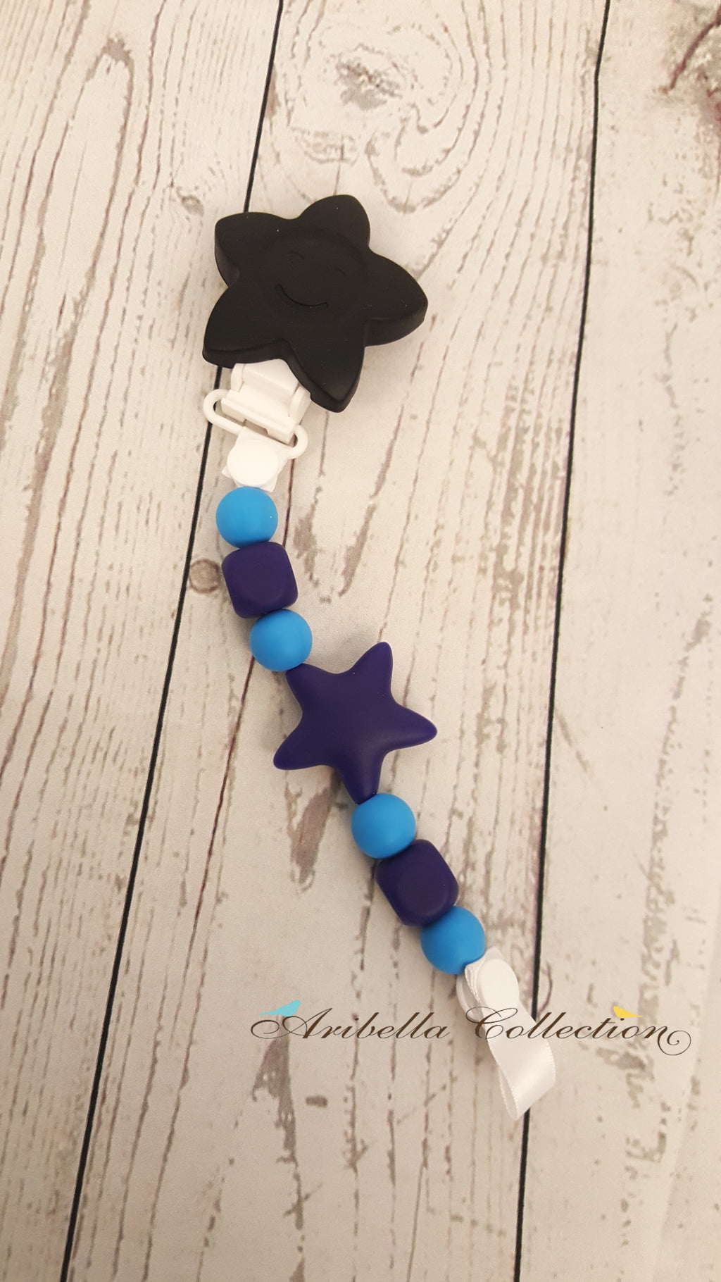 Silicone Pacifier Clip - Black Star - Aribella Collection