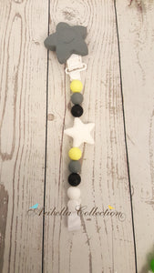 Silicone Pacifier Clip - Gray Star - Aribella Collection