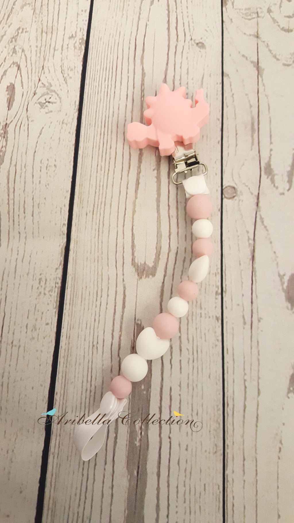 Silicone Pacifier Clip - Pink Dinosaur - Aribella Collection