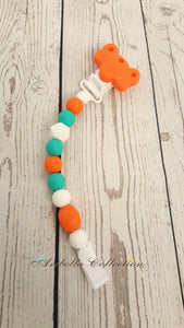 Silicone Pacifier Clip - Orange Elephant - Aribella Collection