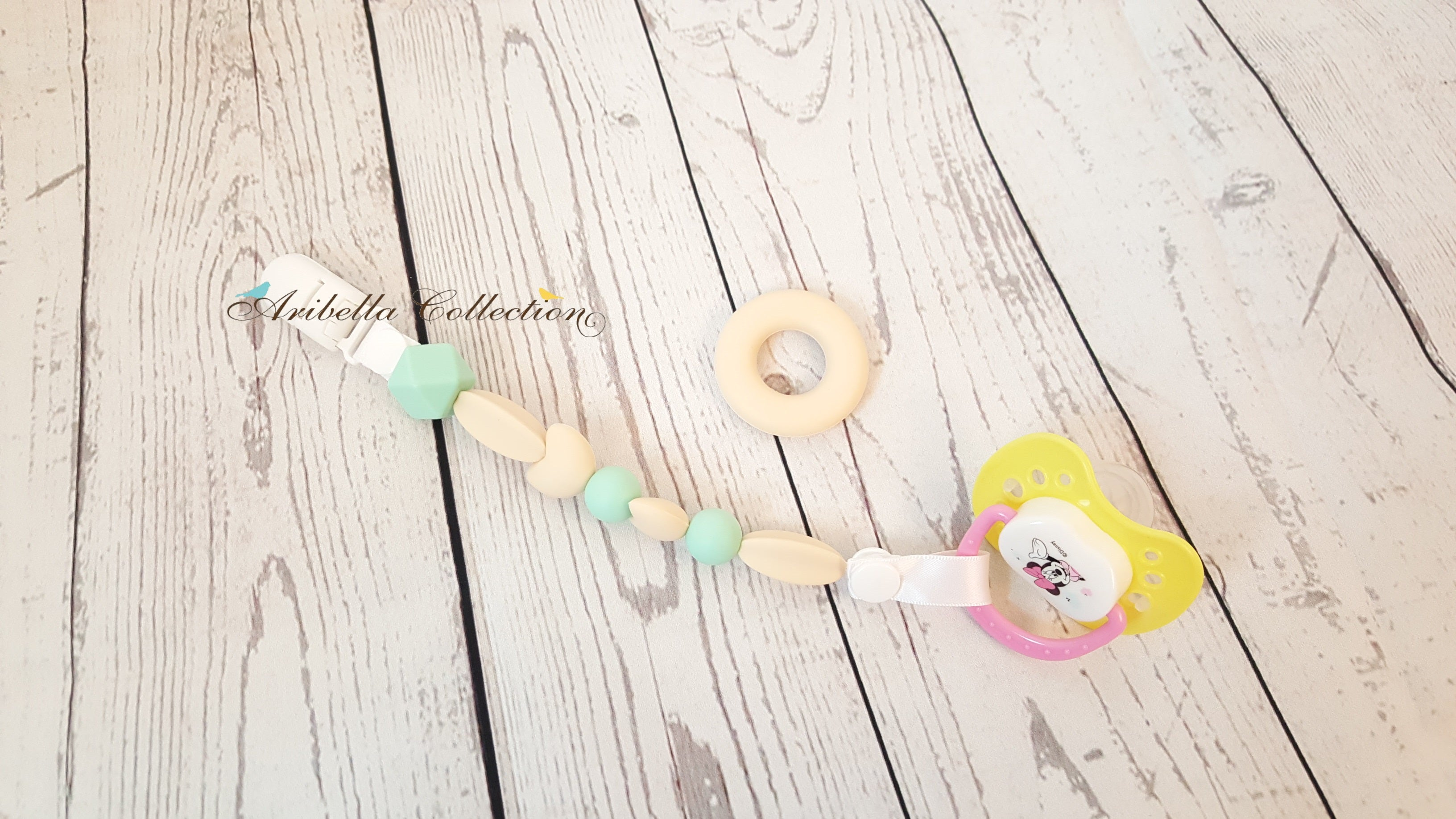 Silicone Pacifier Clip - Donut Ring - Aribella Collection