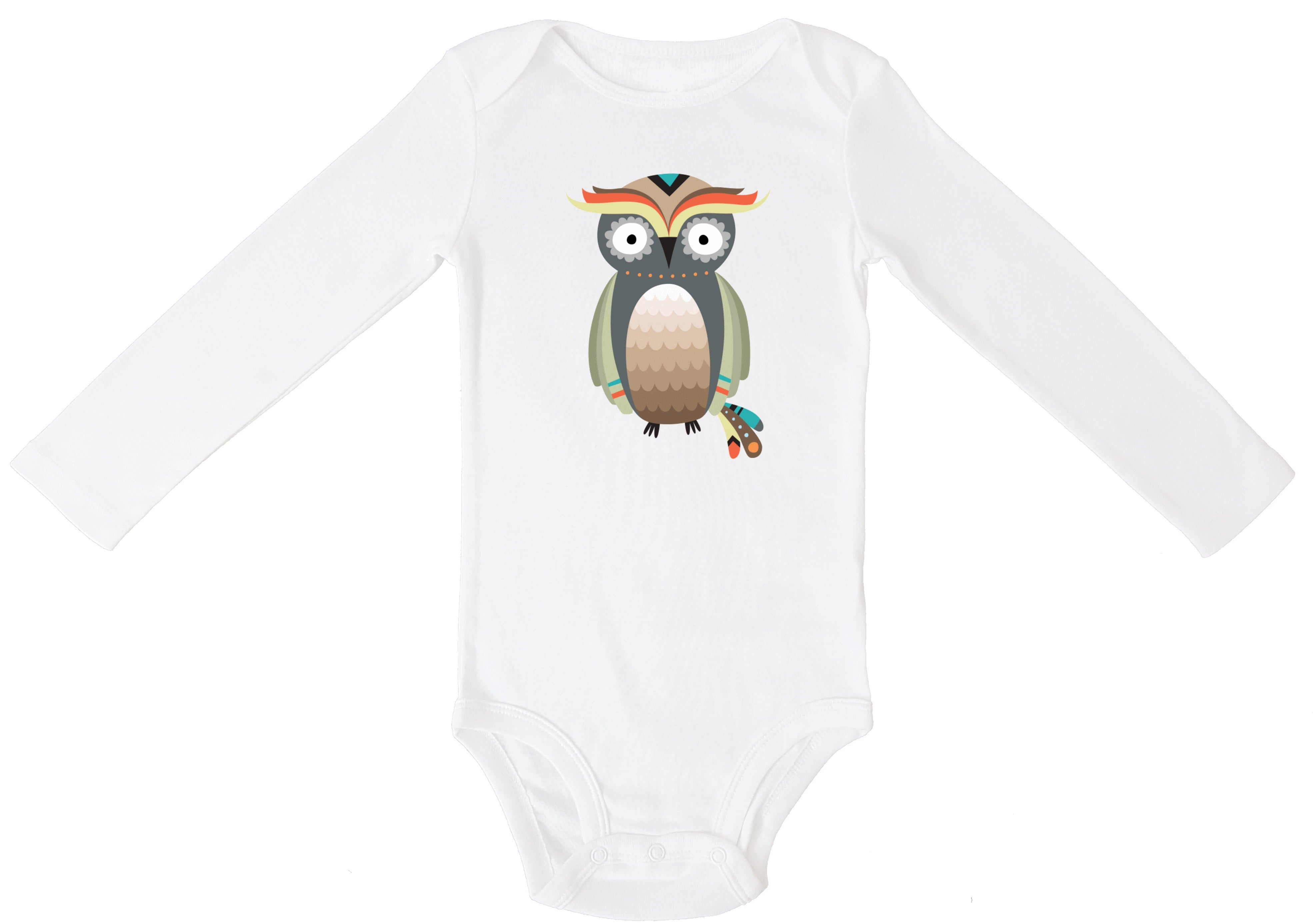 Woodland Tribal Boho Owl Personalized Bodysuit or T-shirt - Aribella Collection