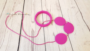 Silicone Necklace & Matching Bangle Set - Hot Pink - Aribella Collection