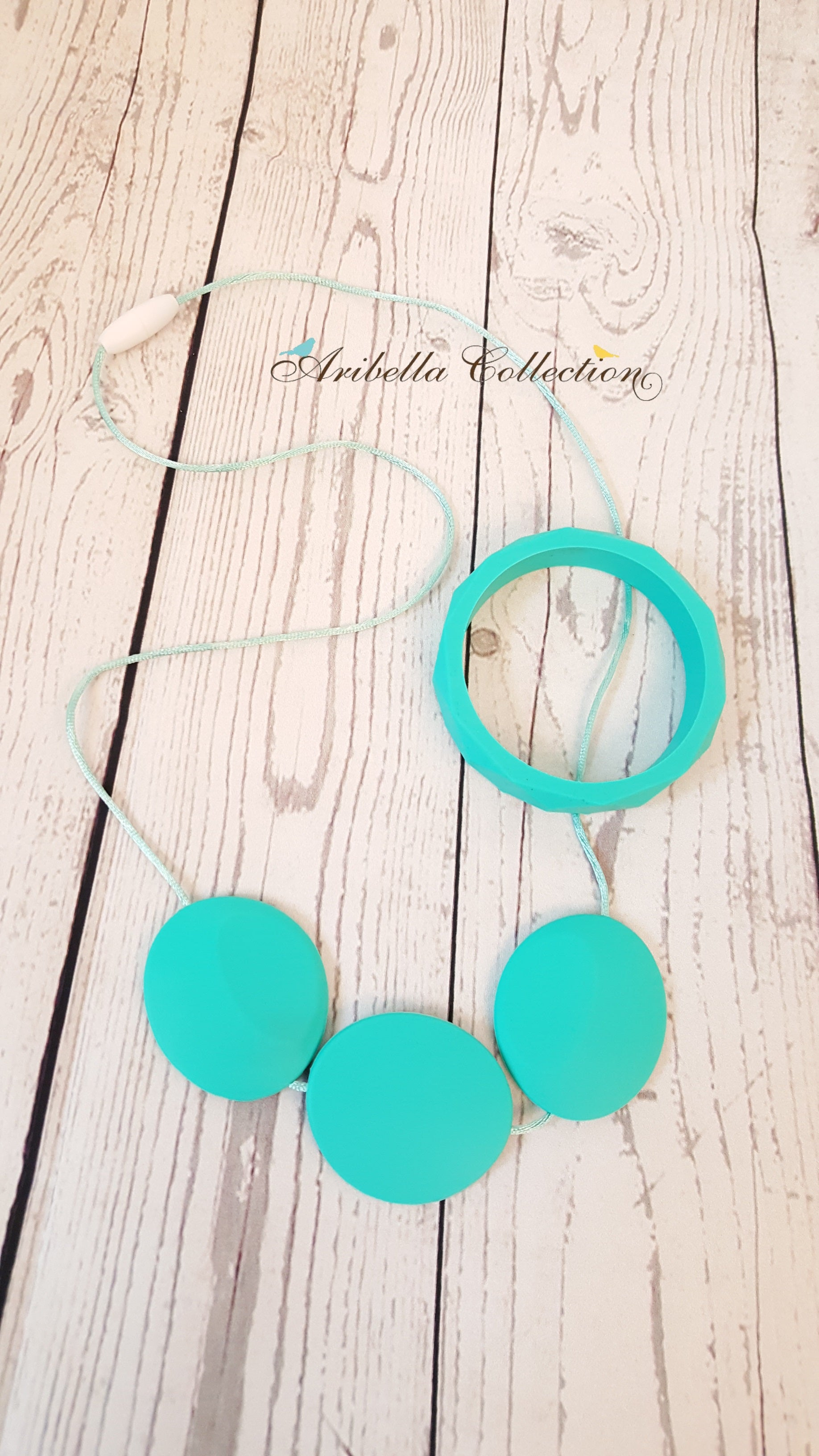 Silicone Necklace & Matching Bangle Set - Turquoise - Aribella Collection