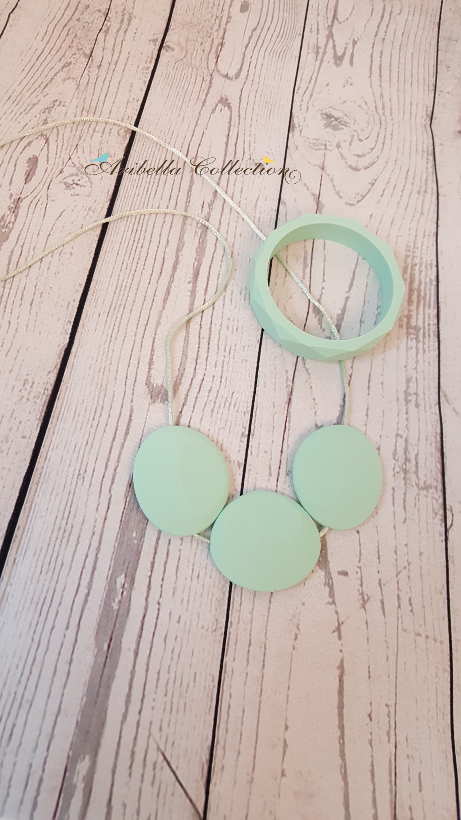 Silicone Necklace & Matching Bangle Set - Mint - Aribella Collection