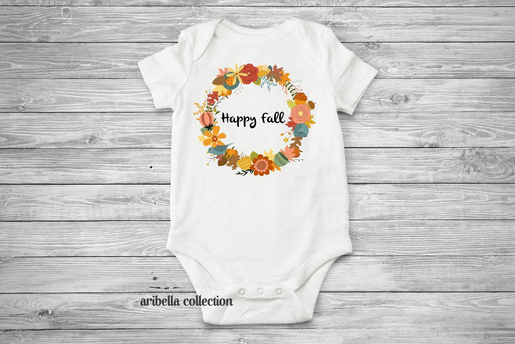 Floral Wreath Personalized Bodysuit or T-shirt - Aribella Collection