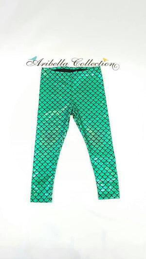 Part Time Mermaid Outfit Set - Glitter Bodysuit or T-shirt, Emerald Green Legging, Hair Clip Bow - Aribella Collection