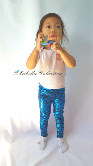Mermaid Leggings - Blue - Aribella Collection