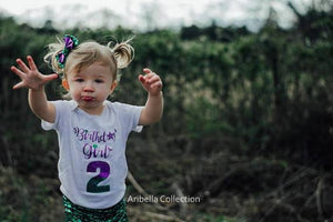 Birthday Girl w/ Age Number Bodysuit or T-shirt - Purple/Green Glitter - Aribella Collection