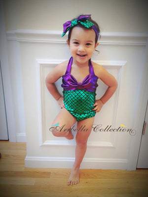 Mermaid One Piece Swimsuit - Green, Aqua, or Iridescent - Aribella Collection