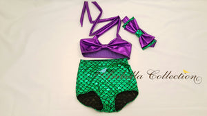 Mermaid Two Piece Swimsuit - Green/Purple or Aqua Blue/Purple - Aribella Collection