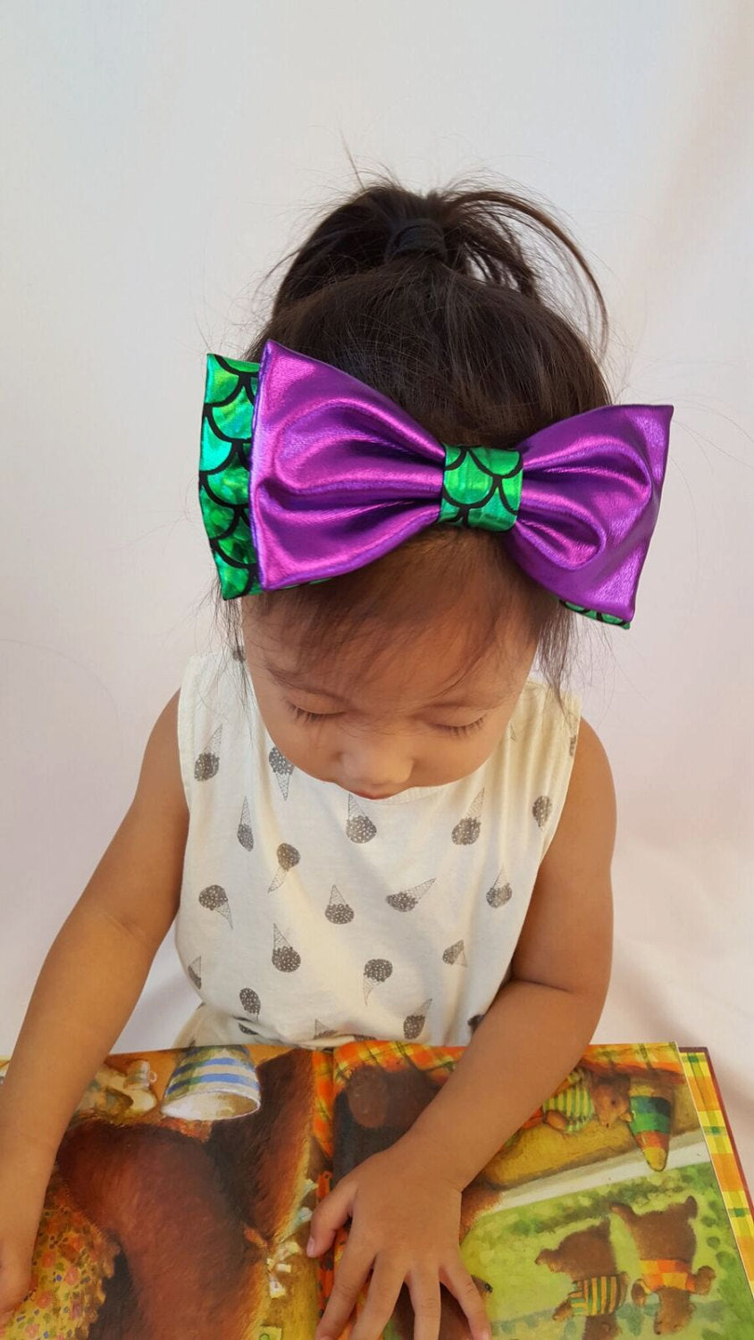 "Mermaid Headband Bow 5""x3"" or 7""x3"" - Aribella Collection"