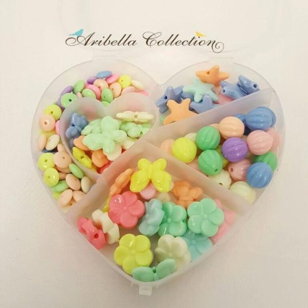Pastel Colored DIY Beads Kit With Heart Case and Elastic String - Aribella Collection