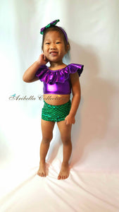Mermaid Two Piece Ruffle Top Swimsuit - Green/Purple - Aribella Collection