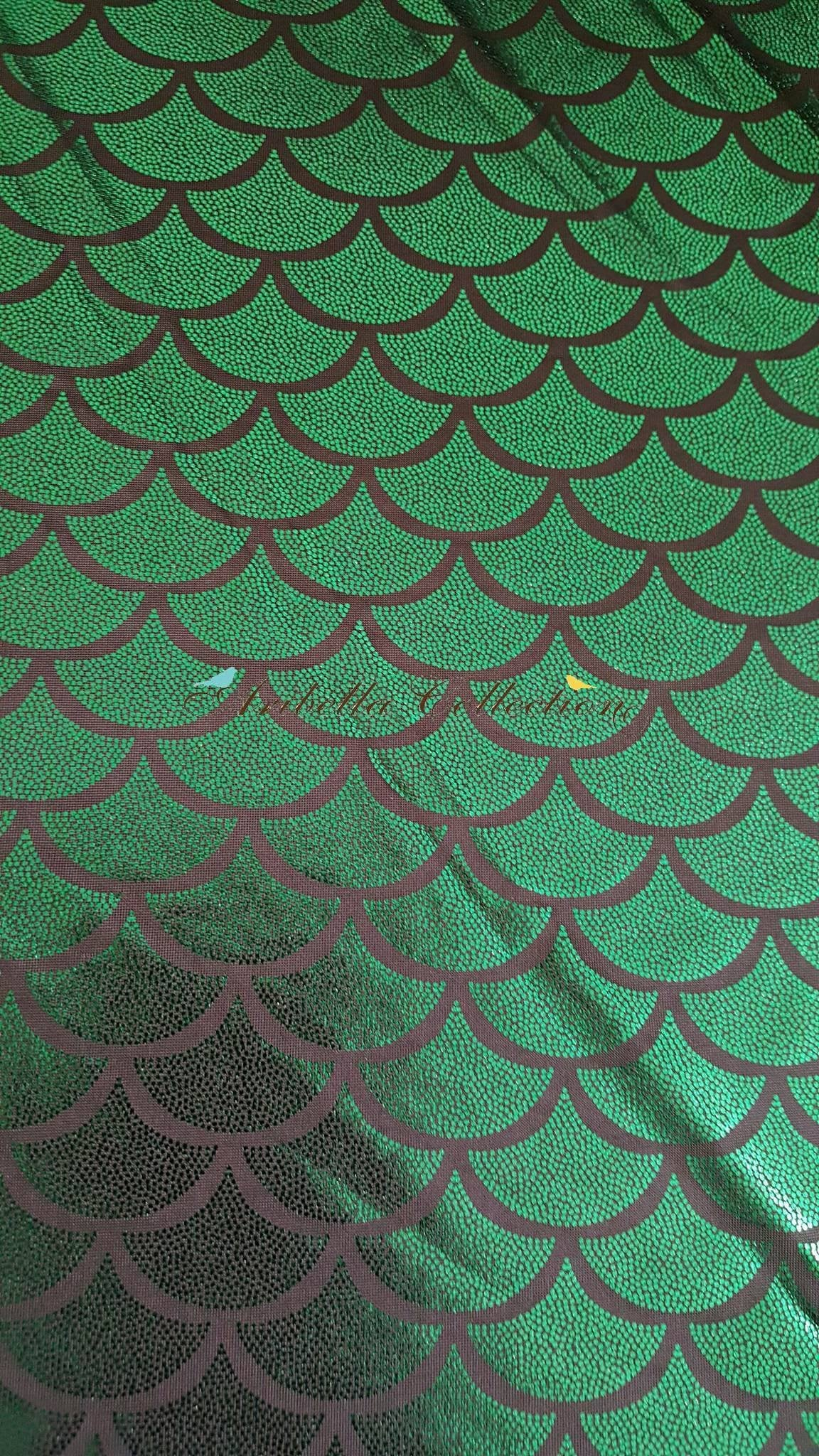 Mermaid Fish Scale Foil Dot Print Fabric By The Yard - 2 Way Stretch - Blue or Green Color - Aribella Collection