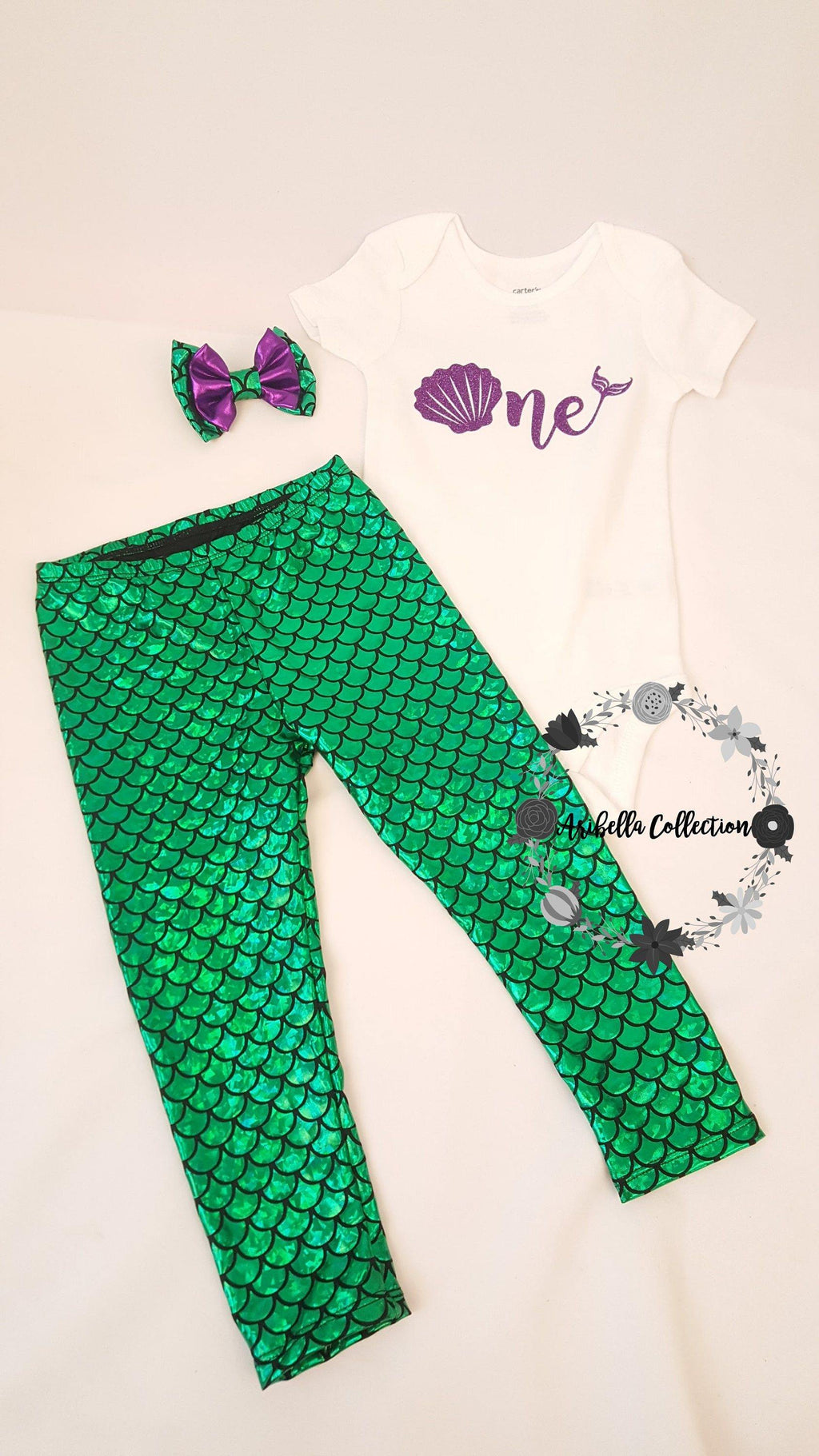 Mermaid Age One Thru Nine Outfit - Glitter Bodysuit or T-shirt, Green Legging, Hair Clip Bow - Aribella Collection