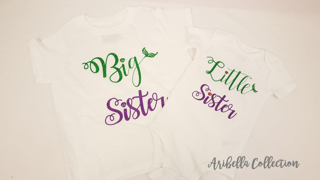 Mermaid Big Sister or Little Sister Glitter Bodysuit or T-shirt - Aribella Collection