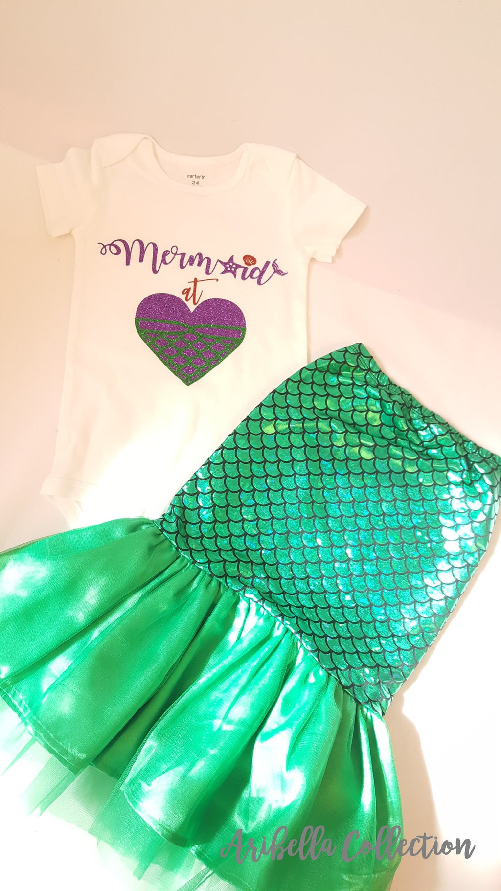 Mermaid At Heart Outfit Set - Glitter Bodysuit or T-shirt, Walkable Tail Skirt, Hair Clip Bow - Aribella Collection