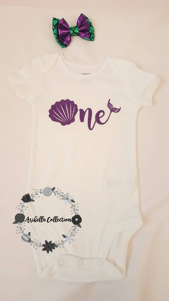 Mermaid Age One to Nine Glitter Bodysuit or T-shirt - Aribella Collection