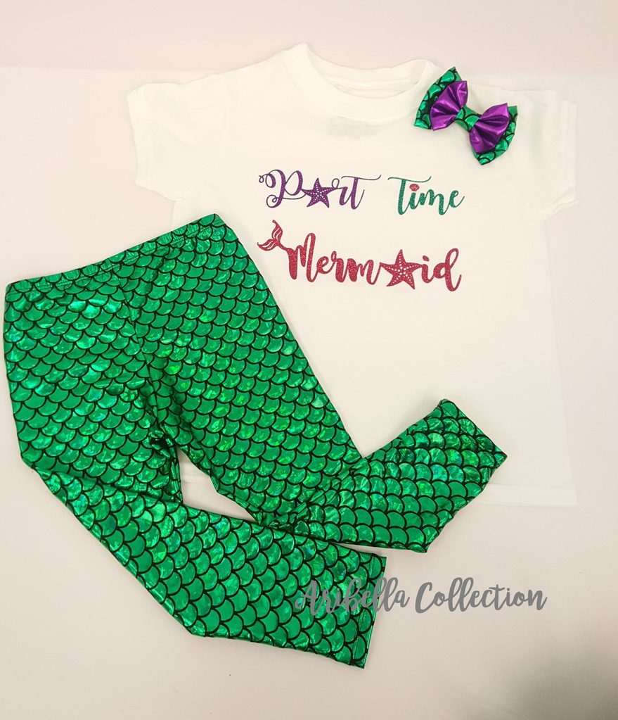 Part Time Mermaid Outfit - Bodysuit or T-shirt, Legging, & Hair Bow - Aribella Collection