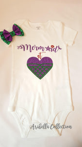 Mermaids At Heart Glitter Bodysuit or T-shirt - Aribella Collection