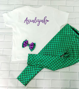 Mermaid Personalized Name Outfit Set - Glitter Bodysuit or T-shirt, Emerald Green Legging, Hair Clip Bow - Aribella Collection