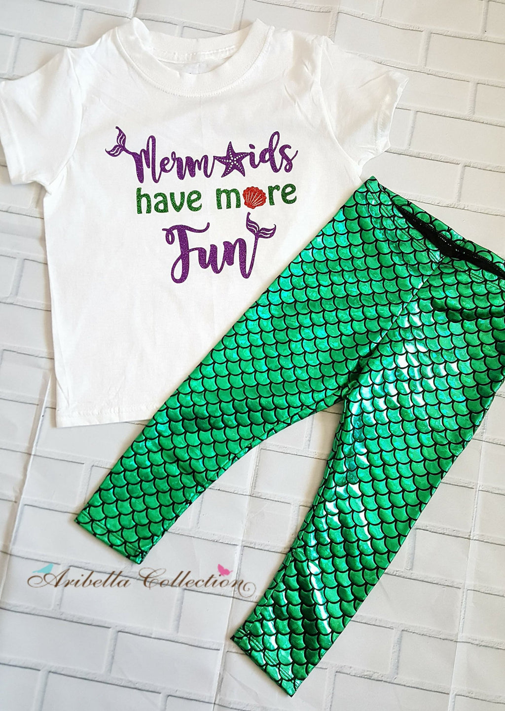 Mermaids Have More Fun Outfit Set - Glitter Bodysuit or T-shirt, Emerald Green Legging, Hair Clip Bow - Aribella Collection