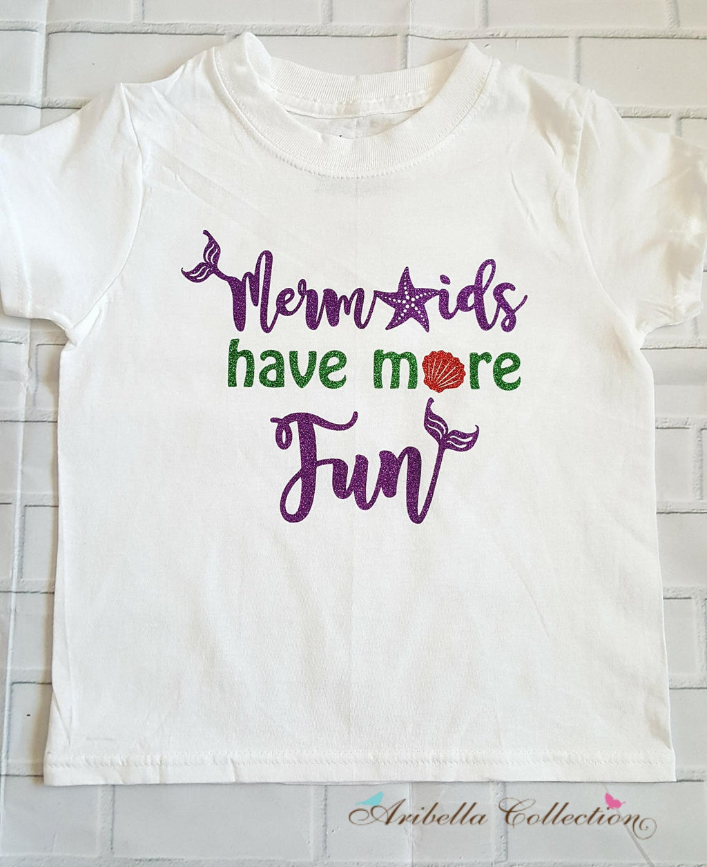 Mermaids Have More Fun Glitter Bodysuit or T-shirt - Aribella Collection