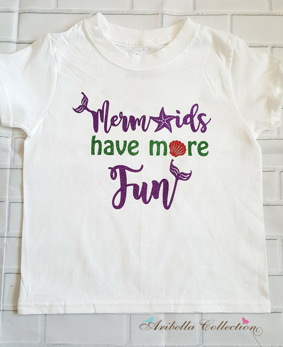 09e0238017f Mermaids Have More Fun Glitter Bodysuit or T-shirt – Aribella Collection,  Inc.