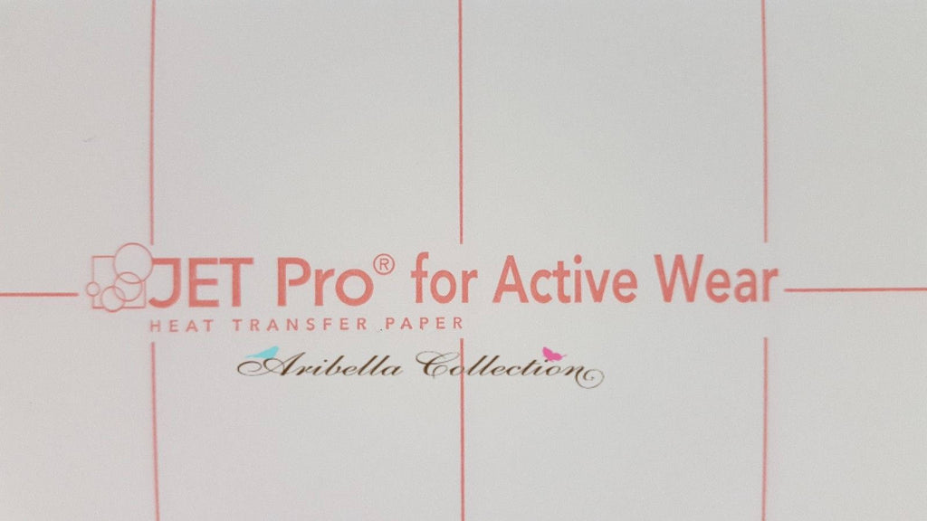 "JET Pro for Active Wear Inkjet Heat Transfer Paper 8.5"" x 11"" - 50 Sheets - Aribella Collection"