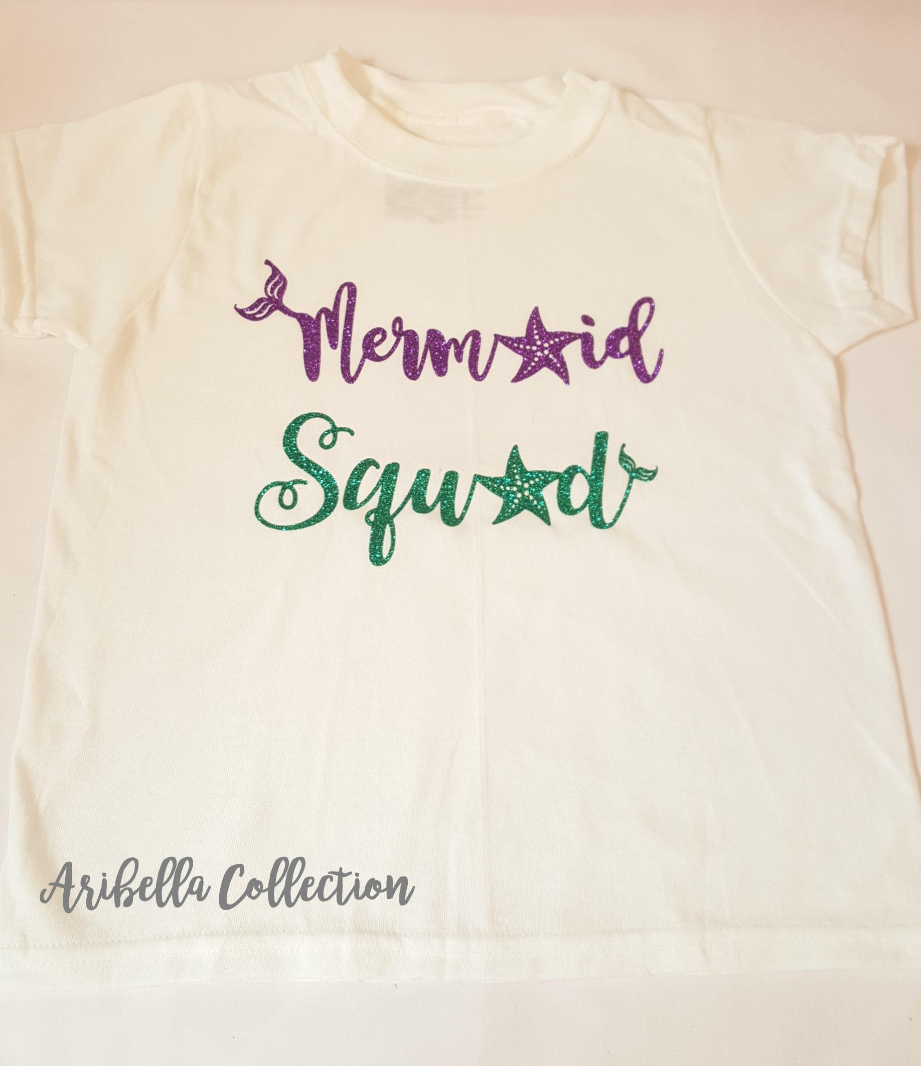 Mermaid Squad Outfit Set - Bodysuit or T-shirt, Legging, & Hair Bow - Aribella Collection