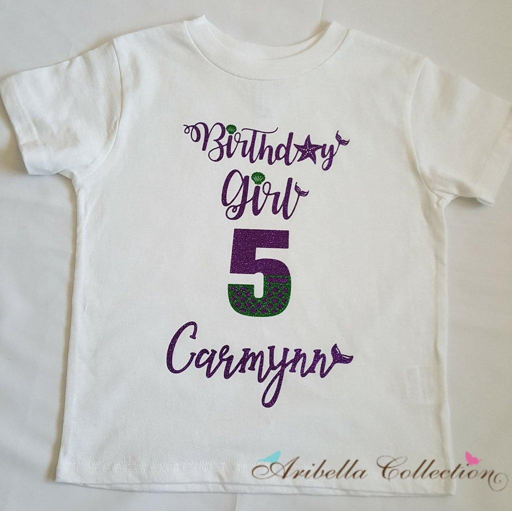 Birthday Girl w/ Age Number & Personalized Name Bodysuit or T-shirt - Aribella Collection