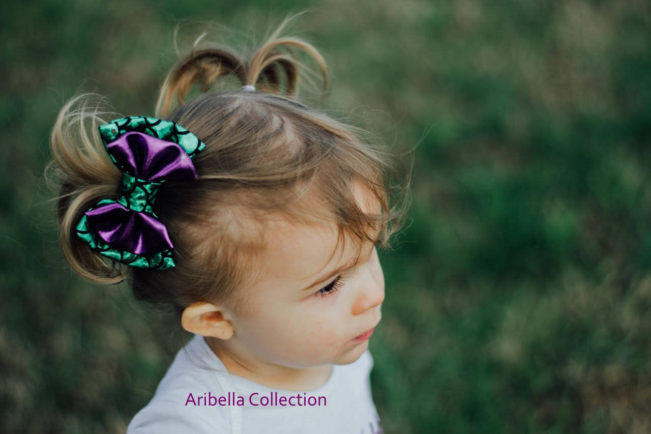 Mermaid Hair Clip Bow - Iridescent, Aqua Blue, or Green Color - Aribella Collection