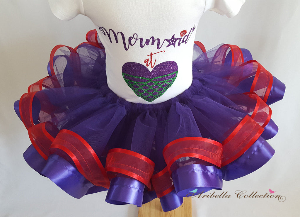 Ribbon Trimmed Purple & Red Tutu Skirt - Aribella Collection