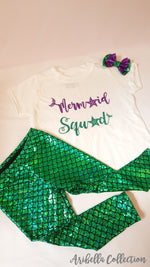 Mermaid Squad Outfit Set - Glitter Bodysuit or T-shirt, Emerald Green Legging, Hair Clip Bow - Aribella Collection