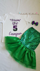 Mermaid Birthday Girl With Personalized Name Outfit Set - Glitter Bodysuit or T-shirt, Walkable Tail Skirt, Hair Clip Bow - Aribella Collection