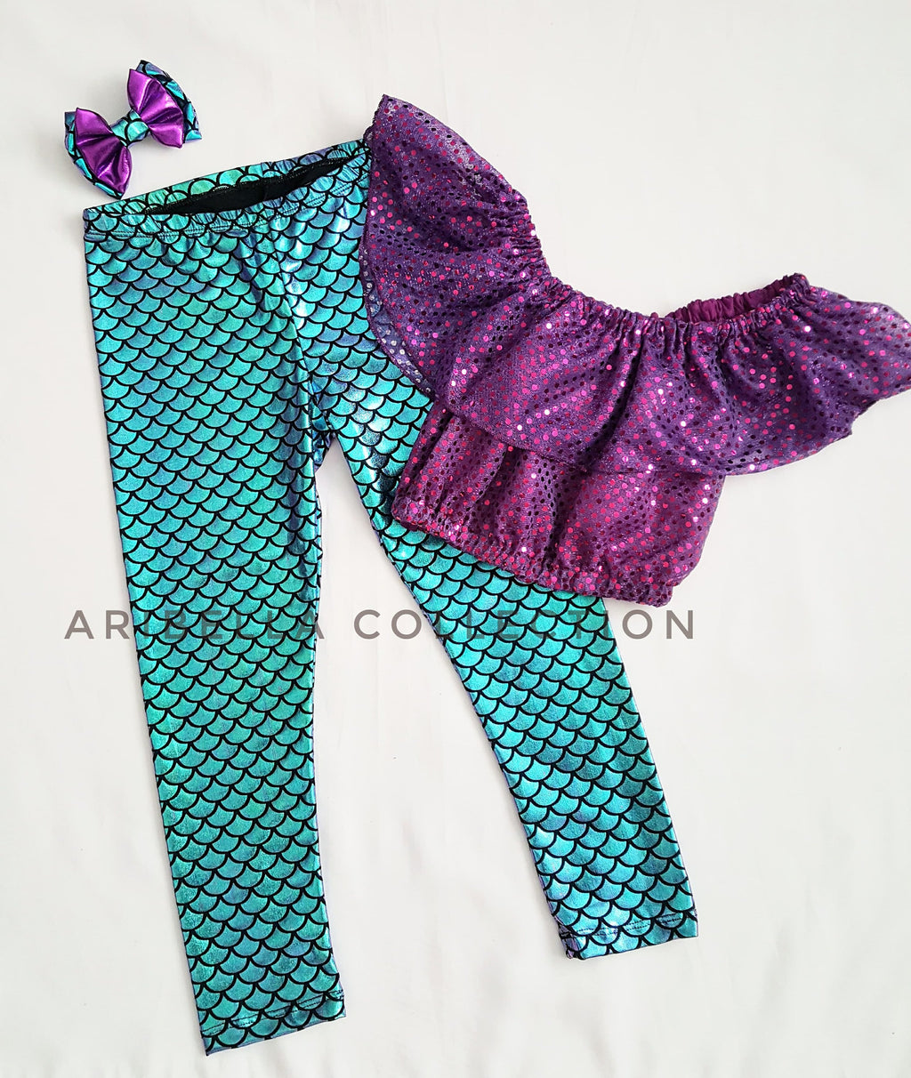 Mermaid Outfit Set - Purple or Plum Confetti Dot Top, Iridescent Multi Color Leggings, Hair Clip Bow - Aribella Collection