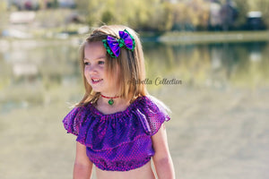 Mermaid Outfit Set - Confetti Dot Top, Tail Skirt, & Hair Clip Bow - Aribella Collection