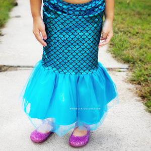 Mermaid Walkable Tail Skirt - Emerald Green, Aqua Blue, or Iridescent - Aribella Collection