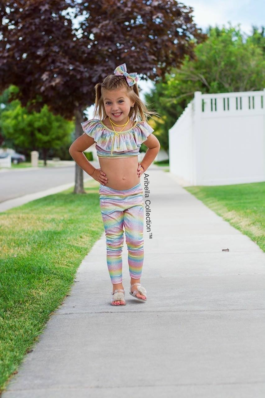 Unicorn Sparkly Rainbow Ruffle Crop Top - Aribella Collection