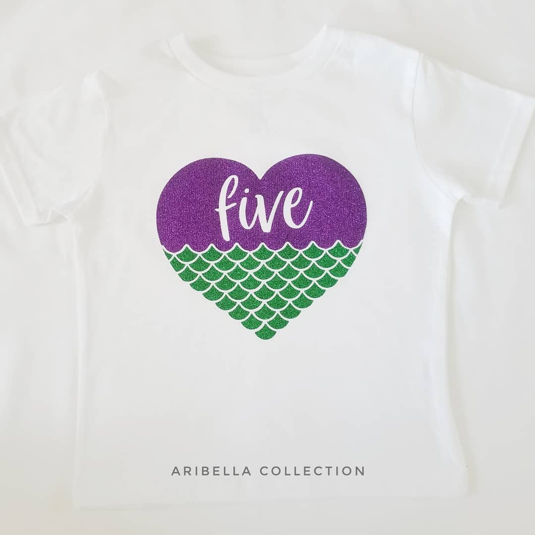 Mermaid Heart w/ Age# Outfit - Bodysuit or T-shirt, Skirt, & Bow - Aribella Collection