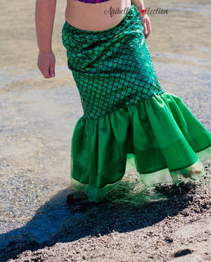 Mermaid Heart w/ Age# Outfit - Bodysuit or T-shirt, Skirt, & Bow - Aribella Collection, Inc.