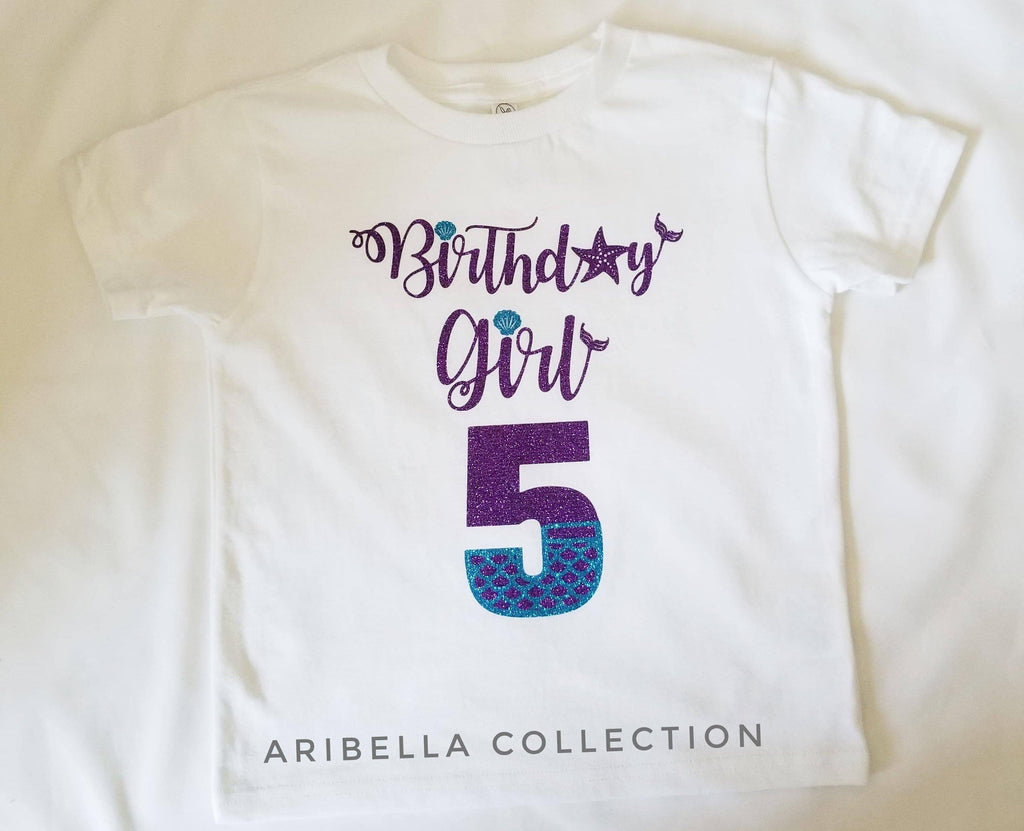 Birthday Girl w/ Age Number Bodysuit or T-shirt - Purple/Aqua Glitter - Aribella Collection