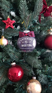 Entering Boston Ornament - Black Glitter - Aribella Collection