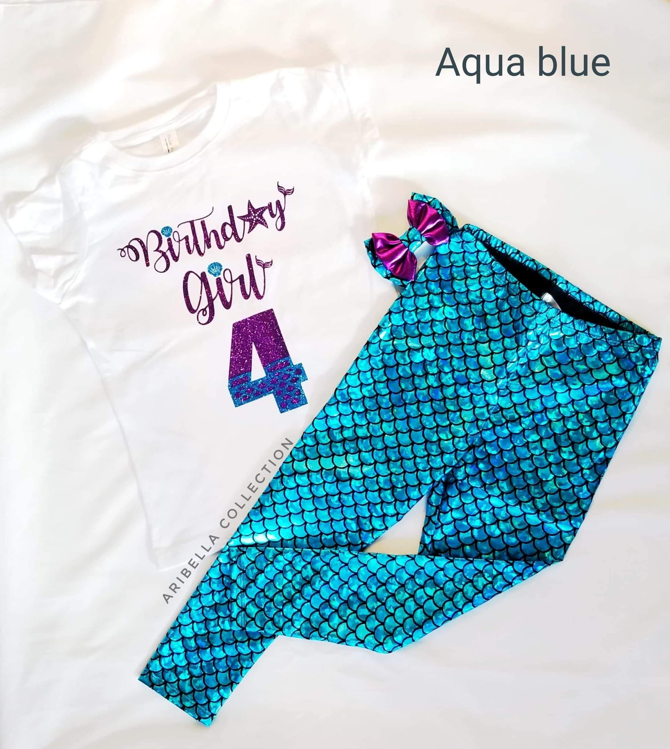 Birthday Girl Outfit - Bodysuit or T-shirt, Legging, & Hair Clip Bow - Aribella Collection, Inc.