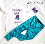 Birthday Girl Personalized Bodysuit or T-shirt, Legging, & Bow Outfit - Aribella Collection