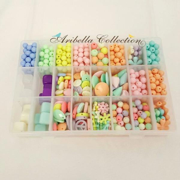Pastel Colored DIY Beads Kit With Case and Elastic String - Aribella Collection