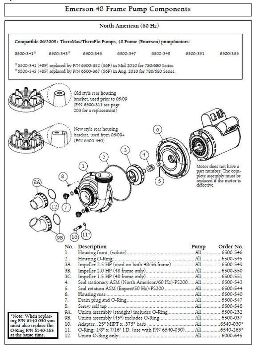 Hot Tub Parts - Sundance Spas Jacuzzi TheraMax/TheraFlo Pump Mechanical Seal Ceramic (P/N: 6500-543)