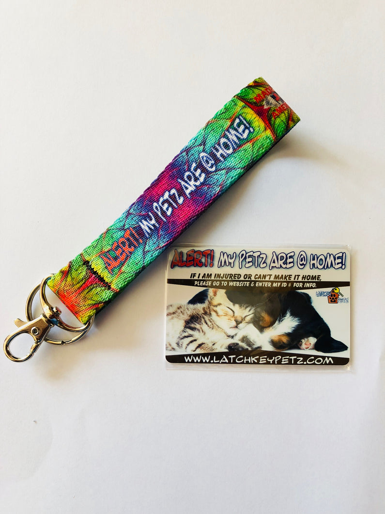 PET ALERT ALIEN SKIN KEY FOB WRISTLET KEYCHAIN KIT